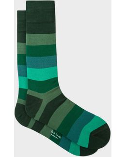 Men's Green Tonal Stripe Socks