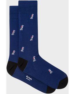 Men's Navy Dalmatian Dog Motif Socks