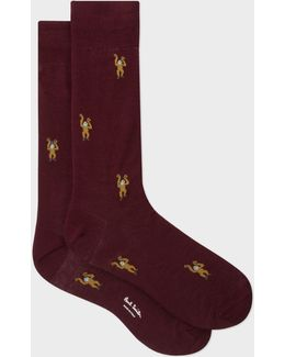 Men's Burgundy Monkey Motif Socks