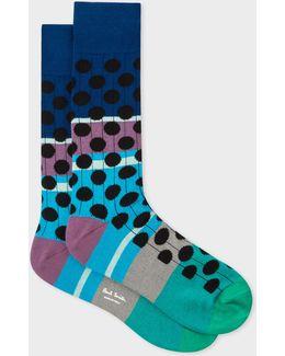 Men's Multi-coloured Black Spot Ribbed Socks