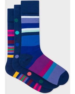 Men's Navy Mixed-stripe And Polka Dot Socks Three Pack