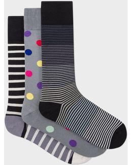Men's Grey Mixed-stripe And Polka Dot Socks Three Pack