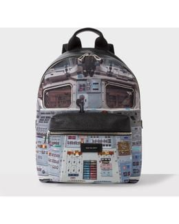 Men's Black Leather And Canvas 'space Shuttle' Print Backpack