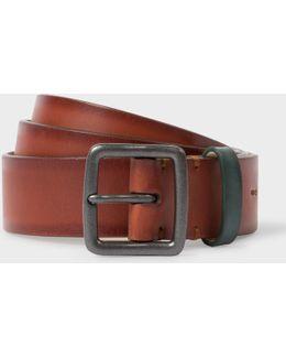 Men's Brown Burnished Leather Belt