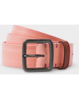 Men's Pink Burnished Leather Belt