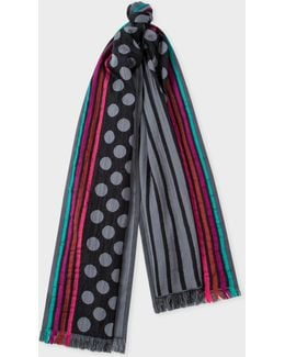 Men's Black And Grey Polka-stripe Cotton And Silk-blend Scarf