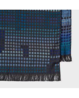 Men's Blue Tonal Polka Dot Jacquard Scarf