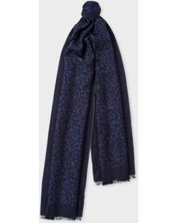 Men's Navy Camouflage Jacquard Scarf