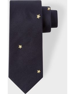 Men's Navy 'star' Motif Narrow Silk Tie