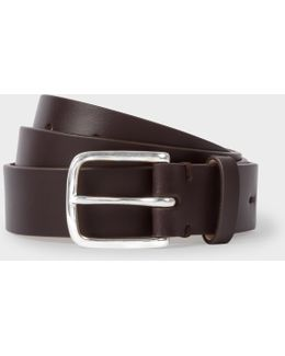 Men's Chocolate Brown Leather Belt With No.9 Lining