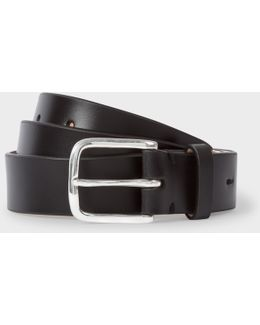 Men's Black Leather Belt With No.9 Lining