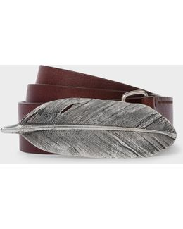 Men's Chocolate Brown Feather Buckle Leather Belt
