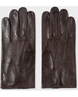 Men's Chocolate Brown Leather 'artist Stripe' Trim Gloves