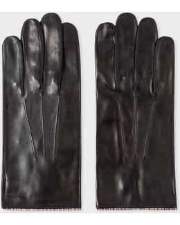 Men's Black Leather Signature Stripe Trim Gloves