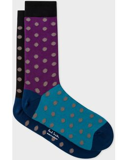 Men's Multi-coloured Socks With Taupe Polka Dots