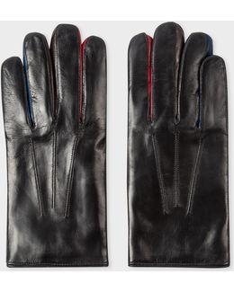 Men's Black Leather Concertina Gloves