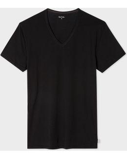 Men's Black V-neck Short-sleeve Vest