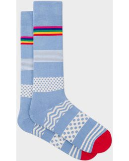 Men's Light Blue 'mixed Bag' Block Stripe Socks