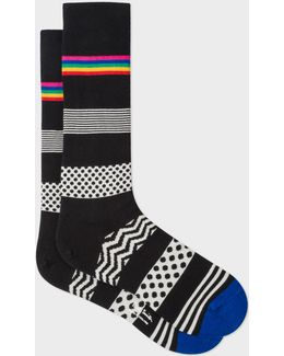 Men's Black 'mixed Bag' Block Stripe Socks