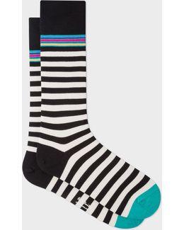 Men's Black And White Two Stripe Socks