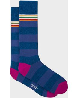 Men's Navy Marl And Violet Stripe Socks
