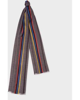 Men's Grey Herringbone Wool Scarf With Central Silk Stripe