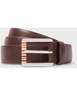 Men's Chocolate Brown Leather Belt With Signature Stripe Roller