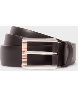 Men's Black Leather Belt With Signature Stripe Roller