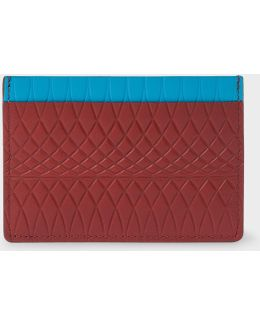 No.9 - Men's Brick Red Leather Card Holder With Multi-coloured Card Slots