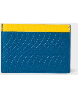 No.9 - Blue Leather Card Holder With Multi-coloured Card Slots
