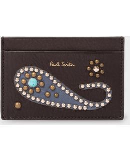 Men's Black Tough Leather Credit Card Holder With Paisley Studs