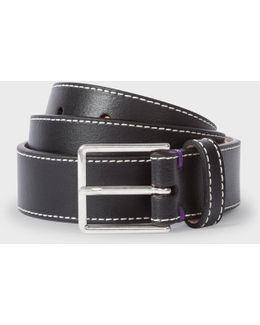 Men's Black Leather 'mini Graphic Edge' Belt