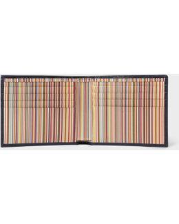 Men's Navy Leather Signature Stripe Interior Billfold Wallet