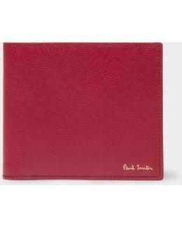 Men's Burgundy Saffiano Leather Colour-block Interior Billfold Wallet