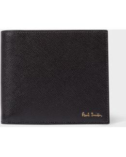 Men's Black Saffiano Leather Colour-block Interior Billfold Wallet