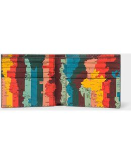 Men's Black Leather 'artist Stripe Map' Print Interior Billfold Wallet