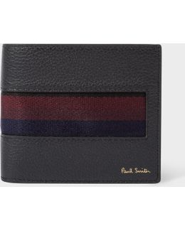 Men's Black 'city Webbing' Leather Billfold And Coin Wallet