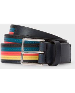 Men's 'artist Stripe' Colour Band Leather Belt