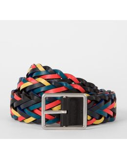 Men's Reversible Plaited Leather Belt