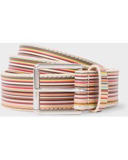 Men's Embossed Signature Stripe Leather Belt