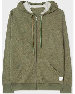 Men's Khaki Loopback-cotton Hoodie