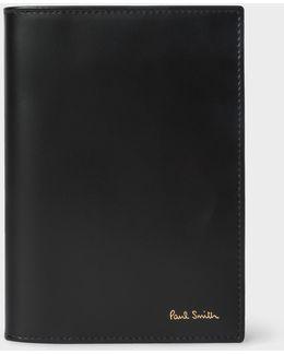 Black Leather Signature Stripe Interior Passport Cover