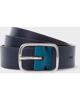 Men's Navy Calf Leather Belt With Contrast End