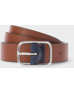 Men's Brown Leather Belt With Contrast End