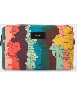 Men's Canvas 'artist Stripe Map' Print Wash Bag