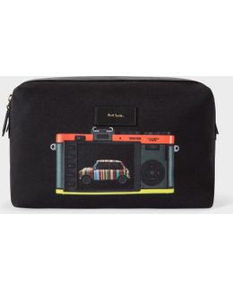 Men's Canvas 'leica Mini' Print Wash Bag