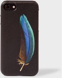 'feather' Print Textured Leather Iphone 7 Case