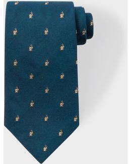 Men's Petrol Embroidered Rabbit Motif Silk Tie
