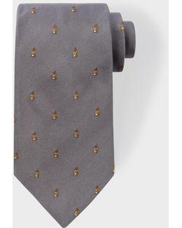 Men's Grey Embroidered Rabbit Motif Silk Tie