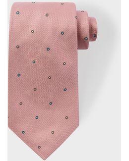 Men's Pink 'polka-floral' Motif Silk Tie